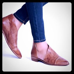 Free People Royale Flat Leather Booties: Brown